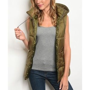 JUST IN! Olive green hooded vest, NWT